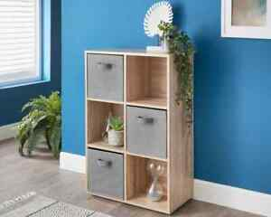 6 Cube Shelving Unit With Grey Canvas Baskets Display Cabinet Wood Furniture