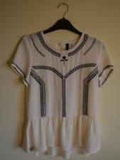 New! H&M ivory rose embroidered top - UK 10 - shirt blouse vintage floral black