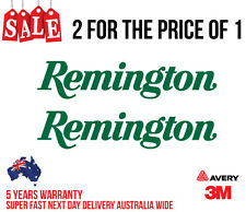 2 x REMINGTON HUNTING DECAL STICKER FOR CAR, UTE, ESKY 200MM WIDE IN GREEN