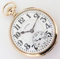 .A 1928 Illinois Bunn Special 14K Gold 60HR 16s 21J GF Open Faced Pocket Watch