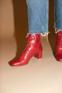 BY FAR Lada Red Leather Lace-Up Round Toe Block Heel Ankle Bootie Boot 36/6