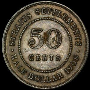 1908 Straits Settlements 50 Cents (Silver) - Edward VII