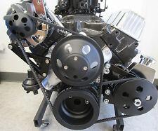 SB Chevy Black Long Pump Billet Aluminum Pulley Kit W/ Alternator & PS Pump SBC