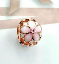 Genuine Pandora Rose Gold ALE R Gold Magnolia Bloom Charm 78208NBP PC95
