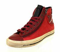 Diesel EXPO ZIP Herren Schuhe Shoes Stiefel Sneakers Boots Leder Rot Gr. 44