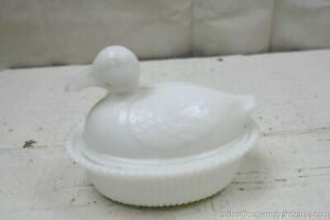 Milk Glass Duck Covered Dish Oval Bowl w Lid White Vintage