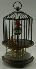 Collectible Decorated Old Handwork Copper 2 Bird In Cage Mechanical Table Clock