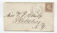 1860s South Danvers MA #65 3 cent 1861 cover to Plattsburg NY [y3270]