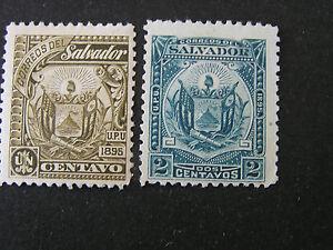 *EL SALVADOR, SCOTT # 117/118(2), 1c+2c. VALUES.1895 COAT OF ARMS  ISSUE MH