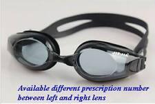 Prescription Anti Fog Swim Black Goggles From 0 till -9.0 WIth Deluxe Case