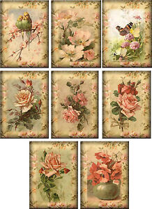 Vintage inspired Roses note cards tags set of 8 with envelopes