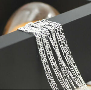10PCS 16-30inch 925 Silver Figaro Chain Necklace Accessorie Jewelry Necklace