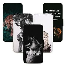 Lion Photography Quotes Flip Phone Case Cover Wallet - Fits Iphone 5 6 7 8 X 11
