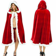 Ladies Long Mrs Santa Claus Cape Christmas Party Fancy Dress Caped outfit Xmas