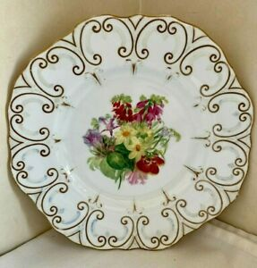 Antique Copeland Handpainted Cabinet Plate Dated Flowers Scalloped Edge 1851-85