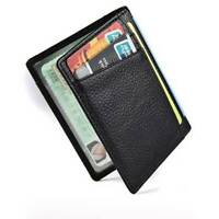 Mens Genuine Leather Black Flap Credit RFID Card ID Holder Slim Bifold Wallet