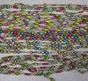38 FEET   Antique Vtg   Bead Mercury  Glass Xmas Feather Tree Garland  STRANDS