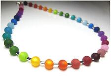 Kette aus echten Polarisperlen bunt silber gold Regenbogen Perlen Halskette