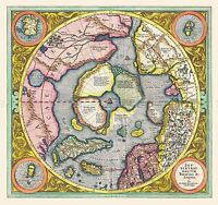 MAP ANTIQUE 1606 MERCATOR HONDIUS POLAR ARCTIC LARGE REPRO POSTER PRINT PAM0017