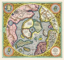 Carte antique 1606 mercator hondius polaire arctique grand imprimé Poster Repro pam0017
