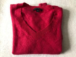 Vintage Banana Republic Womens XL Pink Long Sleeve 100% Angora V-Neck Sweater