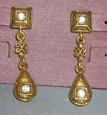 Earrings Cubic Zirconia gold tone dangle pierced butterfly back Vintage look