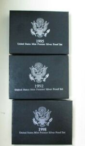3 Count United States Mint Premier Silver Proof Set Lot - 1992, 1995, and 1998
