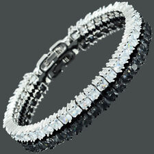 Princess Cut White Topaz Cubic Zirconia 18K White Gold Plated Tennis Bracelet