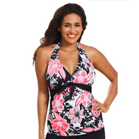 Swimsuits For All Shore Club Halter Tankini Swim Top, Black Pink Floral Print