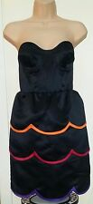 TOPSHOP UK 8 PETER JENSON BLACK CORSET BUSTIER TIERED PETAL DRESS RRP £120 Sale!