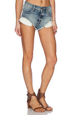 Sz 30 New Wild Fox Couture Jean Shorts Beach Butt High Waist Wash Sea Salt Blue