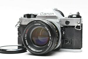 [Exc+5] CANON AE-1 PROGRAM P Silver + FD 50mm F1.4 S.s.C SSC Lens From JAPAN