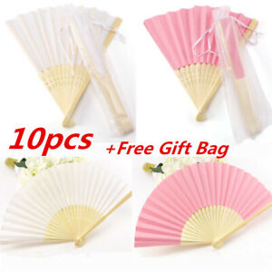 10PCS Stunning White Pink Silk Fans With Gift Bag Wedding Favours Beach Party