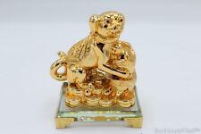 Gold Dog Zodiac Year of Dog Treasure Dog on Crystal Base Feng Shui Decoration