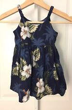 7dc5189d194cf Pacific Legend Girls Hawaiian Dress Blue White Hibiscus Floral Print Size  3-4