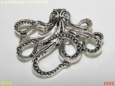 steampunk brooch badge silver octopus kraken pirate Assassin's creed black sails