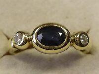 Saphir Damenring Gold 585/14Karat reine Handarbeit zwei herrlichen Brillanten