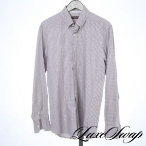 Canali Brown Label Made in Italy Steel Grey Cocoa Box Check Button Down Shirt L