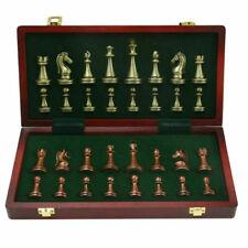 Tragbare Metall Schach Set mit Klapp Holz Schachbrett Stück Lagerung Box