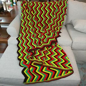 Large Zig Zag Pattern Afghan, Brown, Orange, Yellow and Red, Jamaica flag colors