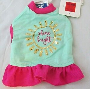 XX Small Dog Dress Pink Green Gold Shine Bright Top Paw Dog Dress NWT Glitter