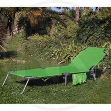 Lettino Spiaggia acciaio Verde Papillon C/tasca e Maniglia D