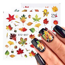 4pcs Fall Leaves Nail Art Stickers Autumn Gold Yellow Maple Leaf Water Decals