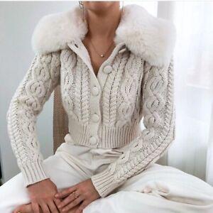 Zara ivory cardigan black faux fur collar BNWT M /& L available