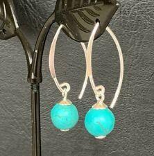 Genuine 925 Sterling Silver Turquoise Earrings Drop Dangle Women