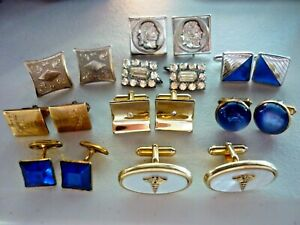 Lot of mens cuff links, cufflinks, 9 sets, Medical MOP, Moonglow, Engraved, RS