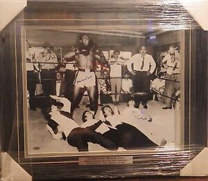"""~Muhammad Ali Signed/Framed 1964 B/W 16x20"""" Photo Beatles Knock Out Steiner COA~"""