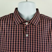 Billy Reid Standard Cut Dark Blue Red Blue Check Mens L/S Dress Button Shirt XL