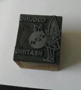 Vintage PGR Heating Cooling Wood Metal Letterpress Print Block Stamp