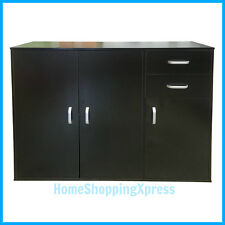 Black Sideboard Unit Chest 2 Drawers 3 Cupboard Cabinet Stand Wood Furniture New